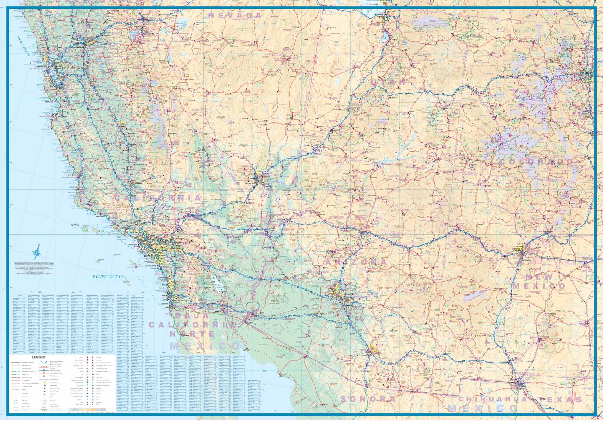 4. USA West Half Railroads and Highways Travel Reference map
